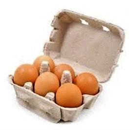 Boîte de six œufs frais